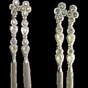 SALE 80's Rhinestone Shoulder Duster Earrings, Runway Stunners