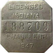 1947 Badge, Indiana Chauffeur License