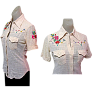 Embroidered Rockabilly Shirt, Womens Gauze 60's