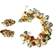Juliana Rhinestone Bracelet & Earrings, D & E Crystal Demi