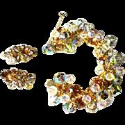Juliana Rhinestone Bracelet & Earrings, D & E Crystal Demi