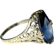 14K Filigree Ring, Art Nouveau Blue Synthetic Sapphire