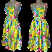 Pinafore Dress, Bright Floral, Vintage Jumper