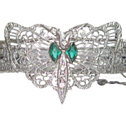 Art Deco Rhodium Filigree Bracelet, Rhinestone Vintage