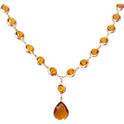 Art Deco Crystal Necklace, Open Back, Bezel Set, Stunning & Substantial