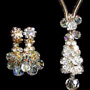 Rhinestone & Crystal Necklace & Drop Earrings, D & E Juliana