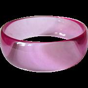 Lavender Lucite Bracelet, Transparent Bangle
