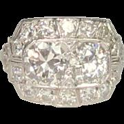Platinum & Diamond Ring, 1920's Art Deco, 2.66 ct
