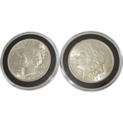 1921 Morgan Silver Dollar & 1922 Peace Dollar
