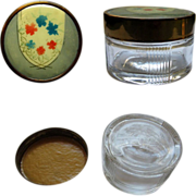 Art Deco Vanity Jar, Glass , Etched & Painted