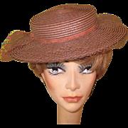 Vintage Straw Hat, Ladies Wide Brim Boater