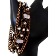 Victorian Opaline Glass Bracelet, Gothic Revival