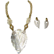 SOLD MOP Necklace & Earrings, Carved Shell Flamboyant 80's