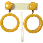 Bakelite Hoop Earrings, Creamed Corn