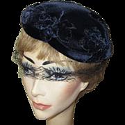 Velvet Hat, Rhinestone Studded Vintage