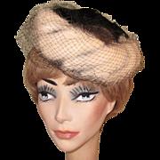 1950's Vintage Hat, Fur Trim