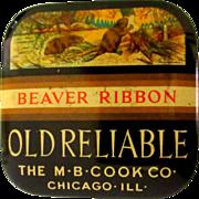 SOLD Beaver Typewriter Tin, Vintage Ribbon, Chicago