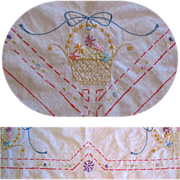 Embroidered Tablecloth, Vintage Card Table