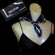 Halston Silk Scarf, Vintage H Logo