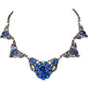 Art Nouveau Necklace, Czech Glass Filigree