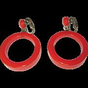 Bakelite Hoop Earrings, Orange, Deco