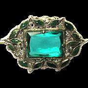 Art Nouveau Brooch, Czech Glass Filigree & Enamel