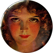 Celluloid Purse Mirror, Vintage Portrait