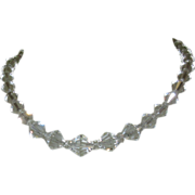 Crystal Necklace, Faceted Beads, Filigree Clasp, 1920's