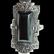Sterling Deco Ring, Marcasite, Hematite
