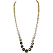 Rock Crystal Necklace, Art Deco Faceted Beads, Long
