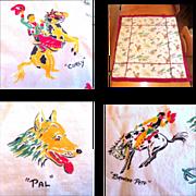 SOLD Cowboy Tablecloth, Vintage Western Theme