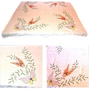 Butterfly Tablecloth, Vintage Embroidery