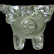 Glass Pig Candle Holder, Vintage