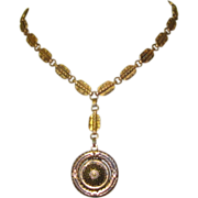 Victorian GF Necklace, Medallion, Repousse