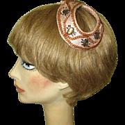 Vintage Beaded Hat, Pink Satin Headband