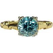 Natural Blue Zircon Ring, Old European Cut, 10K Gold Engagement