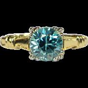 10K Gold Engagement Ring, Natural Blue Zircon, Old European Cut