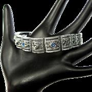 Rhodium Filigree Bracelet, Deco Link, 1920's Vintage