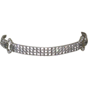 Deco Sterling Necklace, Diamonbar Rhinestone Link