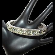Deco Crystal Bracelet, Sterling, Channel Set, Hinged