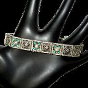 Deco Sterling Bracelet, Filigree Links, Paste Stones