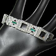 Deco Rhinestone Bracelet, Link With Green & Diamante