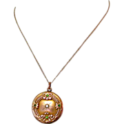 Victorian Pendent Necklace, Gold Filled, Paste Stones