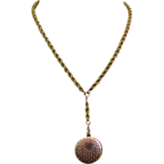 Victorian Locket & Chain, Gold Filled & Etched Necklace