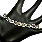 Crystal Link bracelet, Art Deco 1920's Sterling
