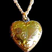 Vintage Locket, Gold Filled Heart, Etched