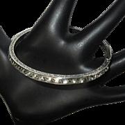 Art Deco Sterling Bracelet, Channel Set Square Paste, Crystal 1920's