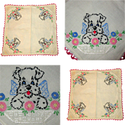 Dog Embroidered Handkerchief, Vintage Scottie