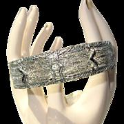 Deco Filigree Bracelet, Rhinestones & Rhodium