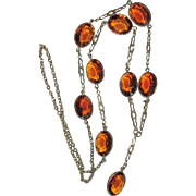 Yellow Crystal Necklace, Bezel Set, 1920's